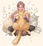 1girl animal animal_on_lap arm_warmers beige_background blue_eyes boots braid braided_ponytail brown_hair cat e_f_regan826 feathers full_body fur_trim gem h'aanit_(octopath_traveler) indian_style jewelry jewelry_removed linde_(octopath_traveler) looking_at_viewer musical_note octopath_traveler pants pearl ring simple_background single_braid sitting smile snow_leopard solo treble_clef twitter_username