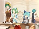 4girls :d ^_^ antennae apron ascot asutora bangs black_cape blue_bow blue_dress blue_eyes blue_hair blue_shorts blush bow bowl breasts brown_apron cape chocolate_making cirno closed_eyes commentary cowboy_shot daiyousei dress eyebrows_visible_through_hair fairy_wings green_apron green_eyes green_hair hair_between_eyes hair_bow hand_up head_scarf holding holding_bowl index_finger_raised indoors kazami_yuuka large_breasts long_sleeves looking_at_another measuring_cup medium_breasts mixing_bowl multiple_girls one_side_up open_mouth pinafore_dress plaid plaid_skirt plaid_vest red_skirt red_vest shirt short_hair short_sleeves shorts skirt skirt_set smile standing touhou upper_body v-shaped_eyebrows vest weighing_scale whisk white_shirt wings wriggle_nightbug yellow_neckwear