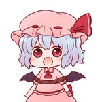 1girl bat_wings batta_(ijigen_debris) blue_hair chibi commentary_request dress fang food hair_ribbon hat mob_cap nattou open_mouth pink_dress red_eyes red_ribbon rei_no_himo remilia_scarlet ribbon short_sleeves solo touhou wings