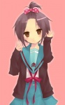 1girl brown_eyes cardigan forehead high_ponytail hijiki_(hijikini) nagato_yuki school_uniform short_hair solo suzumiya_haruhi_no_yuuutsu