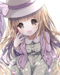 1girl ame_usari bangs blush brown_eyes brown_hair buttons commentary dress eyebrows_visible_through_hair green_dress hat hat_ribbon idolmaster idolmaster_cinderella_girls jacket long_hair looking_at_viewer no_nose open_mouth purple_jacket ribbon smile solo very_long_hair yorita_yoshino