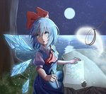1girl ascot bangs blue_dress blue_eyes blue_hair bow breasts child_drawing cirno commentary daiyousei dress eyebrows_visible_through_hair full_moon grass hair_between_eyes hair_bow highres hitodama holding holding_pencil ice ice_wings leash light_particles looking_to_the_side minuo moon night night_sky outdoors paper parted_lips pencil pinafore_dress puffy_short_sleeves puffy_sleeves red_bow red_neckwear rock shirt short_hair short_sleeves sitting sky small_breasts solo star_(sky) starry_sky touhou tree water white_shirt wing_collar wings