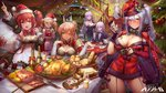 6+girls alcohol alsael_(iron_saga) alternate_costume ann_(iron_saga) apple apron arm_up armpits baguette bangs black_dress black_gloves black_jacket black_neckwear blonde_hair blue_eyes blush bottle bow bowtie bread breasts cape champagne_flute character_request choker christmas christmas_lights christmas_ornaments christmas_tree cleavage cleavage_cutout closed_mouth commentary confetti crop_top cup detached_sleeves dress drinking_glass food fork fruit fur-trimmed_cape fur-trimmed_crop_top fur-trimmed_dress fur-trimmed_gloves fur_trim garter_straps gloves green_eyes gurumi_(iron_saga) hair_between_eyes hair_ornament hair_ribbon hairclip halter_dress hat highres holding holding_cup holding_sack indoors iron_saga jacket kirastar_(iron_saga) knife large_breasts logo long_hair long_sleeves looking_at_viewer mango medium_breasts multiple_girls onion open_mouth pale_skin parted_lips party_popper plate pom_pom_(clothes) ponytail pork purple_eyes purple_hair red_cape red_dress red_eyes red_hair ribbon sack santa_costume santa_hat shawl shirt sidelocks silver_hair skirt sleeveless small_breasts smile sparkle spill stairs star star-shaped_pupils steak stuffed_toy symbol-shaped_pupils table trista_(iron_saga) turkey twintails waist_apron white_dress white_shirt zjsstc