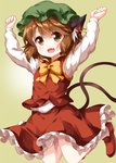 1girl :d animal_ear_fluff animal_ears arms_up bow bowtie brown_eyes brown_hair cat_ears cat_tail chen commentary eyes_visible_through_hair fang frilled_skirt frills hat highres jewelry long_sleeves looking_at_viewer mob_cap multiple_tails open_mouth red_footwear red_skirt red_vest ruu_(tksymkw) shirt shoes simple_background single_earring skirt skirt_set smile solo tail touhou two_tails vest white_shirt yellow_background yellow_neckwear