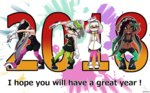 +_+ 2018 4girls ankle_boots aori_(splatoon) arms_up artist_name black_dress black_footwear black_gloves black_hair black_jumpsuit black_shirt black_shorts black_skin boots breasts brown_eyes cleavage closed_mouth commentary_request cousins crop_top crown detached_collar domino_mask dress earrings english eyebrows_visible_through_hair fingerless_gloves food food_on_head gloves green_eyes green_legwear grey_hair hands_together headwear_removed highlights hime_(splatoon) hotaru_(splatoon) iida_(splatoon) jewelry large_breasts leaning_forward leaning_to_the_side long_hair looking_at_viewer mask medium_breasts midriff mole mole_under_eye mole_under_mouth multicolored_hair multiple_girls navel new_year object_on_head octarian open_mouth paint_splatter pantyhose pantyhose_under_shorts pointy_ears pose purple_legwear shirt short_dress short_hair short_jumpsuit shorts signature sleeveless sleeveless_dress smile splatoon splatoon_1 splatoon_2 squatting standing strapless strapless_dress sushi sweatdrop tentacle_hair usa_(dai9c_carnival) watermark white_dress white_footwear white_gloves white_hair zipper_pull_tab