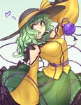 1girl :d adapted_costume arm_up bare_shoulders black_hat bow breasts commentary cowboy_shot english_commentary eyebrows_visible_through_hair frilled_shirt_collar frills gradient gradient_background green_background green_eyes green_hair green_skirt hat hat_bow hater_(hatater) heart komeiji_koishi large_breasts long_hair long_sleeves looking_at_viewer open_mouth petticoat shirt shoulder_cutout skirt sleeves_past_wrists smile solo standing stitches third_eye touhou wavy_hair white_background wide_sleeves yellow_bow yellow_shirt