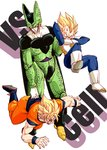 3boys annoyed armor blonde_hair boots cell_(dragon_ball) character_name d: dougi dragon_ball dragon_ball_z frown full_body looking_down male_focus multiple_boys nervous open_mouth outstretched_arms perfect_cell senka-san short_hair simple_background son_gokuu spiked_hair super_saiyan sweatdrop vegeta vs white_background wristband