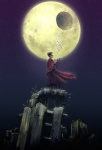 1boy absurdres akira cape city cityscape cyberpunk cyborg highres landscape male_focus moon moonlight night oropi prosthesis ruins scenery science_fiction shima_tetsuo solo standing star