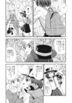 2girls backpack bag bow bowtie comic dress dress_shirt english greyscale hat hat_bow heart highres kannari long_sleeves maribel_hearn medium_hair mob_cap monochrome multiple_girls shirt short_hair skirt sweat tanuki touhou translated usami_renko wavy_hair
