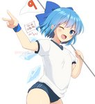 1girl ;d alternate_costume blue_bow blue_eyes blue_hair bow buruma cirno cowboy_shot flag gym_uniform hair_bow ice ice_wings looking_at_viewer nnyara one_eye_closed open_mouth puffy_short_sleeves puffy_sleeves shirt short_hair short_sleeves simple_background smile solo touhou twitter_username v white_background white_shirt wings