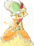 1girl blush bonnet closed_eyes clothed_pokemon commentary_request corset dress evening_gown flower gardevoir gen_3_pokemon green_hair hair_over_one_eye hands_together long_sleeves muguet no_humans orange_dress pokemon pokemon_(creature) puffy_long_sleeves puffy_sleeves red_flower red_rose rose short_hair solo standing white_background