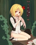 1girl bangs blonde_hair blood bottomless bow buttons collared_shirt commentary_request corpse disembodied_limb eyebrows_visible_through_hair gap guro hair_bow highres long_sleeves looking_at_viewer miyo_(ranthath) open_mouth outdoors red_bow red_eyes rumia shirt shoes short_hair sitting socks torn_clothes torn_sleeves touhou white_legwear white_shirt