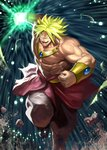 1boy blonde_hair bracer broly clenched_hand commentary_request dragon_ball glowing glowing_hand highres jewelry jintetsu looking_at_viewer male_focus muscle no_pupils open_mouth pebble solo spiked_hair standing standing_on_one_leg