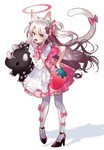 1girl angry animal_ears apron bag bangs black_footwear bow carrying_under_arm cat_ears cat_girl cat_tail commentary_request dress fang frilled_skirt frills frown full_body hair_bow hair_ribbon halo hand_on_hip heart heart_print high_heels highres long_hair looking_at_viewer maid maid_apron maid_headdress open_mouth original paw_hair_ornament paw_print pigeon-toed pink_bow pink_dress pink_skirt pleated_skirt pomu_(pomu_me) red_eyes ribbon shoes short_sleeves silver_hair simple_background skirt solo standing strawberry_bag stuffed_animal stuffed_toy tail tail_bow tail_raised thighhighs two_side_up v-shaped_eyebrows very_long_hair wavy_hair white_background white_legwear