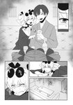 1boy 1girl brooch coat comic dress drill_hair earrings eyewear_on_head greyscale highres japanese_clothes jewelry kimono long_sleeves medium_hair monochrome scan short_hair short_twintails sunglasses touhou toujou_(toujou_ramen) translation_request twin_drills twintails two_side_up yorigami_jo'on