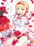 1girl ahoge blonde_hair blush eyebrows_visible_through_hair fate/grand_order fate_(series) green_eyes gym_uniform highres looking_away musical_note open_mouth petals red_buruma red_headband saber_extra shoes short_hair short_sleeves sitting smile solo translation_request wariza xenonstriker
