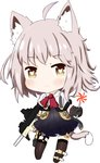 1girl :3 absurdres animal_ears bailingxiao_jiu bangs black_dress black_gloves black_legwear blush brown_eyes brown_hair candy cat_ears cat_girl cat_tail chibi closed_mouth dress eyebrows_visible_through_hair food full_body girls_frontline gloves gun heart heart-shaped_pupils highres holding holding_gun holding_lollipop holding_weapon jacket kemonomimi_mode lollipop no_shoes object_namesake short_sleeves simple_background solo standing swirl_lollipop symbol-shaped_pupils tail thighhighs vector_(girls_frontline) weapon white_background white_jacket