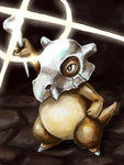 absurdres arm_up bone brown_eyes cubone full_body highres holding ko-chin-4327 no_humans pokemon pokemon_(creature) pokemon_(game) pokemon_rgby solo sparkle standing stone_floor