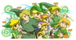 6+boys baton_(instrument) black_eyes blonde_hair blue_eyes brown_hair ezlo gloves hat link male_focus multiple_boys multiple_persona pen smile the_legend_of_zelda the_legend_of_zelda:_four_swords the_legend_of_zelda:_oracle_of_ages the_legend_of_zelda:_phantom_hourglass the_legend_of_zelda:_the_minish_cap the_legend_of_zelda:_the_wind_waker the_legend_of_zelda:_twilight_princess toon_link usikani