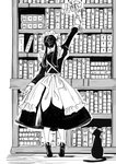 1girl absurdres animal apron arm_up blush book bookshelf cat commentary_request dress duster frilled_apron frills from_below full_body greyscale highres holding holding_duster juliet_sleeves long_hair long_sleeves looking_away low_twintails maid maid_apron maid_headdress monochrome original outstretched_arm pantyhose puffy_sleeves reaching shadow shii_(kairi-t-k0317) shoes soles solo standing tiptoes twintails white_background