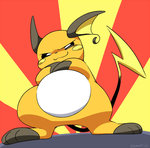 crossed_arms ears eromame no_humans pokemon pokemon_(creature) raichu smirk sunburst tail