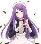 1girl alternate_costume apron bow bowtie enmaided hatsukoi_zombie heart heart_hands highres ibusuki_ririto leaf long_hair long_sleeves looking_at_viewer maid maid_apron maid_headdress minenami_ryou official_art purple_eyes purple_hair red_bow red_neckwear solo spoilers wig yame_ririsu