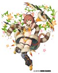 1girl :d ahoge animal_ears arrow belt black_gloves bow_(weapon) bra brown_eyes cat_ears cat_tail clenched_hand company_name detached_sleeves fingerless_gloves full_body fur_trim gemini_seed gloves green_eyes knee_pads looking_at_viewer navel official_art open_mouth plant sakura_neko scarf short_hair smile solo tail thigh_strap thighhighs underwear vines weapon white_background wide_sleeves yellow_bra yellow_footwear