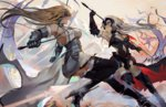 2girls armor armored_dress armpits battle black_gloves blonde_hair breasts capelet chain choker cleavage collar commentary_request dual_wielding duel eyebrows_visible_through_hair fate/apocrypha fate/grand_order fate_(series) faulds flag gauntlets gloves headpiece holding holding_flag holding_sword holding_weapon jeanne_d'arc_(alter)_(fate) jeanne_d'arc_(fate) jeanne_d'arc_(fate)_(all) large_breasts long_hair multiple_girls open_mouth outstretched_arms pixiescout plackart polearm silver_hair smile spear spread_arms standard_bearer sword thighhighs thighs two-handed weapon yellow_eyes