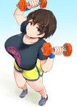 1girl breasts brown_eyes brown_hair commentary_request dumbbell from_above highres idolmaster idolmaster_cinderella_girls large_breasts oikawa_shizuku shirt short_shorts shorts smile solo sweat weightlifting weights yosyo