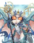 1girl alteil_neo blue_hair breasts character_name closed_mouth copyright_name cowboy_shot cuboon dragon dragon_girl gauntlets groin holding horns large_breasts lips long_hair official_art red_eyes staff standing sword thighhighs thighs watermark weapon white_legwear