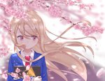 1girl blonde_hair blush book cherry_blossoms commentary_request crossed_arms eyebrows_visible_through_hair highres holding holding_book long_hair looking_to_the_side md5_mismatch necktie outdoors petals pink_eyes red_neckwear sakura-sou_no_pet_na_kanojo sasatabekung school_uniform self_upload shiina_mashiro sideways_glance solo upper_body wind