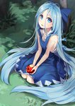1girl absurdly_long_hair alternate_hair_length alternate_hairstyle apple asutora bare_arms bare_shoulders blue_bow blue_dress bow cirno commentary_request dress eyebrows_visible_through_hair food fruit grass hair_between_eyes hair_bow head_tilt highres holding holding_fruit ice ice_wings long_hair looking_at_viewer looking_up outdoors parted_lips pinafore_dress seiza shirt sitting sleeveless sleeveless_dress sleeveless_shirt solo torn_clothes torn_shirt touhou tree very_long_hair white_shirt wing_collar wings