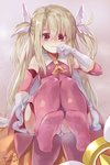 1girl absurdres artist_name bangs bare_shoulders blonde_hair breasts commentary_request dress eyebrows_visible_through_hair fate/kaleid_liner_prisma_illya fate_(series) feet frills frown gloves hair_between_eyes highres illyasviel_von_einzbern long_hair looking_at_viewer magical_girl magical_ruby pink_dress prisma_illya red_eyes sitting sleeveless sleeveless_dress small_breasts solo tearing_up torieto twintails white_gloves
