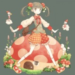 1girl bad_id bad_pixiv_id bag bangs blunt_bangs bow cloud clover cookie double-breasted flower food food_themed_hair_ornament four-leaf_clover frilled_shorts frills full_body gloves gnome grey_background grey_eyes grey_hair hair_flower hair_ornament hat leaf_hair_ornament long_sleeves mushroom mushroom_hair_ornament original outstretched_arms plaid plaid_shorts polka_dot polka_dot_shorts pom_(soupy) red_shorts shorts smile socks solo spread_arms striped striped_bow twintails vest white_gloves white_legwear