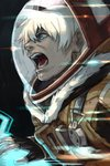 1boy blue_eyes dingo_egret facial_hair fur_trim gloves hankuri male_focus profile screaming space_helmet spacesuit stubble white_hair zone_of_the_enders_2