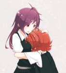 2girls arashi_(kantai_collection) commentary_request gloves hagikaze_(kantai_collection) head_in_chest highres hug kantai_collection long_hair multiple_girls purple_hair red_hair side_ponytail smile tonosuke_(tnsk) uniform