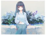 1girl blue_eyes blue_flower blue_skirt book closed_mouth commentary_request dated eyebrows_visible_through_hair flower grey_hair grey_sweater kisei2 long_hair long_sleeves looking_at_viewer open_book original purple_flower sitting skirt smile solo sweater