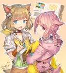 2girls :< animal_ears bell belt blonde_hair blue_eyes book bracer braid cat_ears collar dated fang final_fantasy final_fantasy_xiv hair_bell hair_ornament holding hood jewelry khloe_aliapoh looking_at_viewer miqo'te momoko_(momopoco) multiple_girls necklace open_book open_mouth pen pink_eyes pink_hair signature slit_pupils tail yellow_background