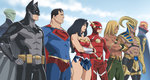 1girl 6+boys aquaman_(dc) bare_shoulders batman belt black_cape black_hair blonde_hair blue_sky cape character_request cloud covered_navel crossed_arms dark_skin day dc_comics facial_hair goatee green_lantern green_skin hand_on_hip justice_league long_hair looking_to_the_side martian_manhunter mask multiple_boys outdoors red_cape red_eyes red_tornado robot skirt sky standing superman temaeya_utsurou the_flash utility_belt wonder_woman