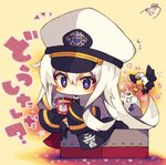 +++ 1girl :< anger_vein animal azur_lane bangs beige_background bird black_jacket black_legwear blush cat chibi collared_shirt cup eagle enterprise_(azur_lane) eyebrows_visible_through_hair flying_sweatdrops hair_between_eyes hat highres holding holding_cup jacket long_hair long_sleeves looking_at_viewer mug muuran over-kneehighs parted_lips peaked_cap purple_eyes shirt signature sleeves_past_fingers sleeves_past_wrists solo star star-shaped_pupils symbol-shaped_pupils thighhighs translation_request triangle_mouth very_long_hair white_hair white_hat white_shirt