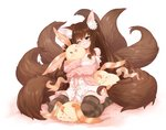 1girl 2016 animal animal_ear_fluff animal_ears animal_hug bed_sheet between_breasts big_hair black_legwear blush bra_strap breasts brown_hair brown_legwear creature fox_ears fox_girl fox_tail green_eyes lace lace-trimmed_panties large_breasts long_hair long_sleeves maron_(pet) multiple_tails navel no_pants no_shoes off_shoulder one_eye_closed open_clothes open_mouth original panties pink_cardigan plushmallow rice365 shirt signature sitting smile solo striped striped_legwear tail thighhighs twintails unbuttoned unbuttoned_shirt underwear wariza white_panties white_shirt