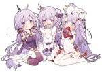 3girls :o ahoge azur_lane bangs bare_shoulders black_bow black_footwear black_ribbon blush bow box breasts bun_cover china_dress chinese_clothes collarbone commentary cosplay covered_mouth covered_navel detached_sleeves dress eyebrows_visible_through_hair gift gift_box girl_sandwich hair_bun hair_ornament hair_ribbon halterneck holding holding_gift long_hair long_sleeves looking_at_viewer medium_breasts multiple_girls multiple_persona object_hug on_head one_side_up pantyhose parted_lips purple_dress purple_eyes purple_hair purple_legwear ribbon sandwiched seiza shoes short_sleeves side_bun simple_background sitting sleeves_past_wrists small_breasts sparkle stuffed_animal stuffed_pegasus stuffed_toy stuffed_unicorn tsuka unicorn_(azur_lane) very_long_hair vocaloid white_background white_dress white_legwear wrist_cuffs xingchen xingchen_(cosplay)