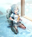 1girl blue_eyes blush breasts gloves hair_ornament hairclip hamakaze_(kantai_collection) highres kantai_collection large_breasts miyabi_(miyabi) navel pantyhose partially_submerged school_uniform serafuku shallow_water short_hair short_sleeves silver_hair sitting skirt solo wariza water white_gloves