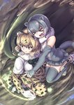 2girls :d >_< animal_ears animal_print arm_around_neck bangs bare_shoulders black_hair blonde_hair bow bowtie cape carrying cerulean_(kemono_friends) closed_eyes closed_mouth detached_collar elbow_gloves extra_ears eyebrows_visible_through_hair fingerless_gloves folded from_above fur_collar gloves grey_gloves grey_hair grey_legwear hair_between_eyes hand_on_another's_thigh head_on_head highres hood hood_down hooded_cape jaguar_(kemono_friends) jaguar_ears jaguar_print jaguar_tail kemono_friends medium_hair motion_lines multicolored_hair multiple_girls okyao one-piece_swimsuit open_mouth otter_ears otter_tail outstretched_arm outstretched_leg pointing print_gloves print_legwear print_skirt serious shoes sidelocks skirt small-clawed_otter_(kemono_friends) smile squatting swimsuit tail tentacles thighhighs toeless_legwear toes two-tone_hair white_hair xd yellow_eyes zettai_ryouiki