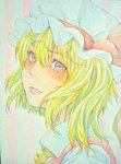 1girl ascot blonde_hair flandre_scarlet graphite_(medium) hat highres lips looking_at_viewer looking_to_the_side mob_cap photo pink_eyes portrait short_hair solo touhou traditional_media watercolor_(medium) yuyu_(00365676)