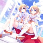 1boy 1girl alternate_color belt blonde_hair blue_eyes blue_sky bow brother_and_sister buttons cloud commentary_request crossed_legs day dutch_angle hair_bow hair_ornament hair_tucking hairclip handrail headphones headset high_heels highres kagamine_len kagamine_rin kashiwaba_en looking_at_viewer miniskirt moon orange_neckwear orange_skirt pale_skin parted_lips pleated_skirt sailor_collar shirt shorts siblings sitting skirt sky socks treble_clef twins vocaloid white_shirt white_shorts wrist_cuffs