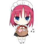 1girl basket blue_eyes bow chibi hanabana_tsubomi hisui lowres maid_headdress red_hair sandwich school_uniform short_hair skirt solo tsukihime vest white_background
