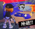 /\/\/\ 1girl artist_name baseball_cap black_hat black_jacket commentary_request emphasis_lines from_behind hat holding holding_weapon inkling inumaru_akagi jacket logo long_sleeves looking_at_another motion_blur motion_lines n-zap_(splatoon) orange_hair paint_splatter pixiv_id pointy_ears shirt shoes short_hair splatoon splatoon_2 squid standing tentacle_hair translated weapon white_footwear white_shirt