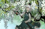 1girl bob_cut bow bowtie bug butterfly cowboy_shot dappled_sunlight day expressionless flower green_skirt green_vest hair_ribbon head_tilt hitodama holding holding_sword holding_weapon insect katana konpaku_youmu konpaku_youmu_(ghost) long_sleeves looking_at_viewer omamori outdoors red_eyes ribbon seeker sheath shirt short_hair skirt skirt_set solo sunlight sword touhou unsheathing vest weapon white_flower white_hair white_shirt wisteria