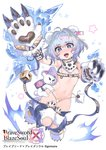 1girl :d ahoge animal_ears arm_belt atte7kusa bare_shoulders bear_ears bikini blue_eyes blush brave_sword_x_blaze_soul breasts copyright_name fur_collar gloves hair_intakes hand_up highres ice jumping knees_together_feet_apart looking_at_viewer navel official_art open_mouth paw_gloves paws pink_pupils short_hair small_breasts smile solo stuffed_animal stuffed_toy swimsuit teddy_bear watermark white_bikini